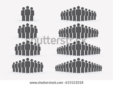 People Icon set in trendy flat style isolated on light background with shadow. Crowd signs. Persons symbol for your infographics web site design, logo, app, UI. Vector illustration, EPS10. Royalty-Free Stock Photo #615521018