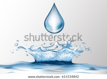 3D water splash and water drop with reflection effect.Image crown from falling drop into the water in blue colors, isolated on transparent backdrop.Transparency water realistic spray #615534842