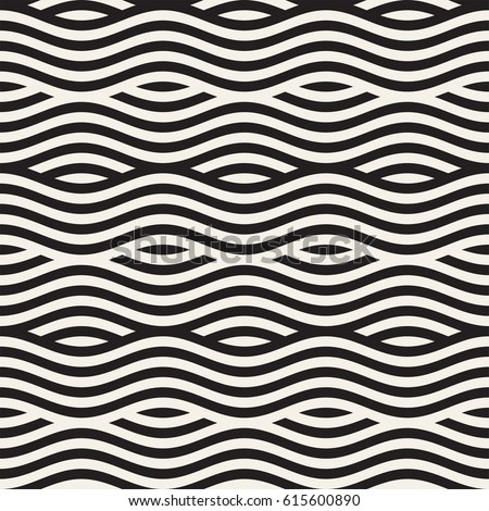 Abstract geometric pattern with wavy lines. Interlacing rounded stripes design. Seamless vector background. Royalty-Free Stock Photo #615600890