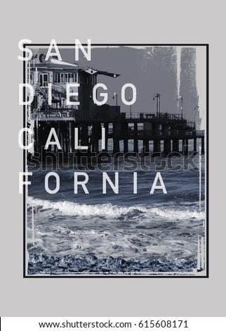 Photo print California  beach San Diego , tee shirt graphics, typography