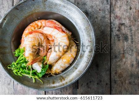 baked shrimp pot seafood delicious #615611723