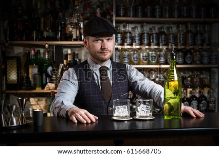 bartender with a drink #615668705