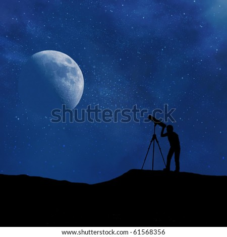 Silhouette of person looking at a stylized digitally created night sky through a stylized digitally created telescope #61568356