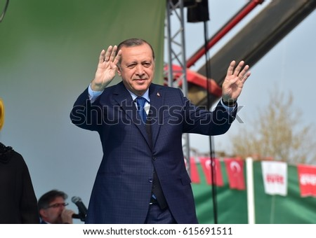 Turkish President Recep Tayyip Erdogan speaks at  referendum meeting 5 April  2017 Turkey , Bursa. #615691511