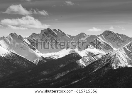 Rocky Mountains on a spring day Royalty-Free Stock Photo #615715556