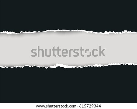 Seamless ripped paper and white background with space for text, vector art and illustration. #615729344