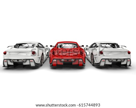 Sublime red sport car in the middle of two white cars - back view - 3D Illustration #615744893