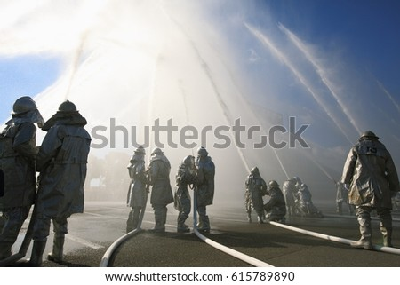 Fujishi, Japan - January 10,2016: Fujishi Firemen's Dezomeshiki Performances (New Year Firefighters Ceremony). Annual event to firemen's traditional skills and enthusiasm will be held every January. #615789890
