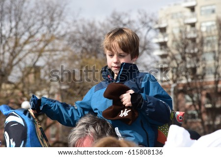 NEW YORK CITY - APRIL 1 2017: More than one hundred New Yorkers gathered at Washington Square Park for the 12th annual Pillow Fight to benefit NYC homeless shelters #615808136