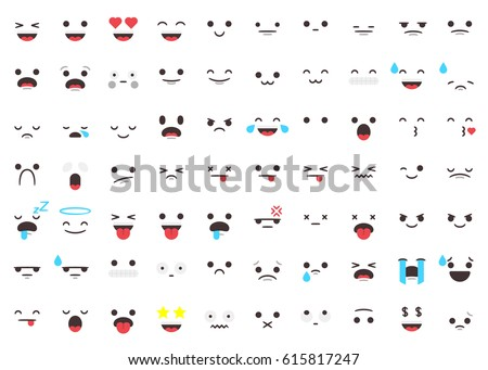 Set of 70 emojis faces and expressions on a modern flat style