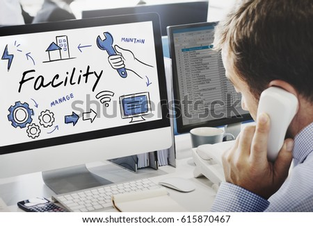 Facility Equipment Maintain Manage Concept Royalty-Free Stock Photo #615870467