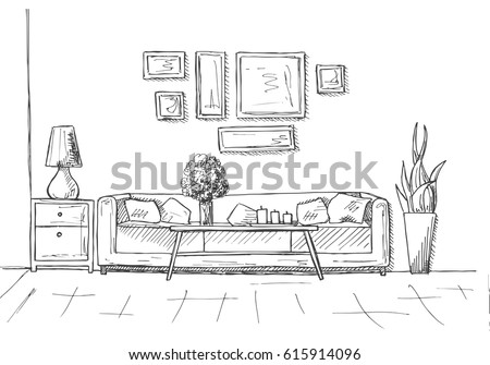 Linear sketch of an interior. Hand drawn vector illustration of a sketch style. Royalty-Free Stock Photo #615914096