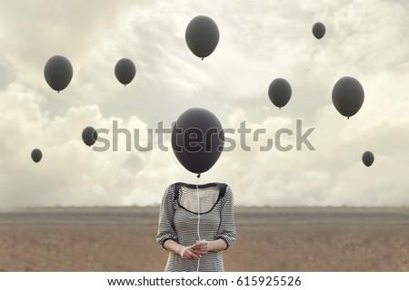 surreal image of woman and blacks balloons flying Royalty-Free Stock Photo #615925526