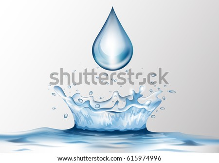 3D water splash and water drop with reflection effect.Image crown from falling drop into the water in blue colors, isolated on transparent backdrop.Transparency water realistic spray #615974996