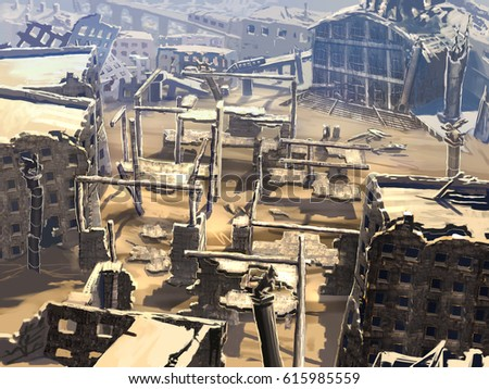 digital illustration of destroyed abandoned city street view environment landscape #615985559