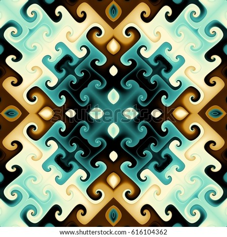 Abstract square background. Symmetric decorative ornament pattern. #616104362