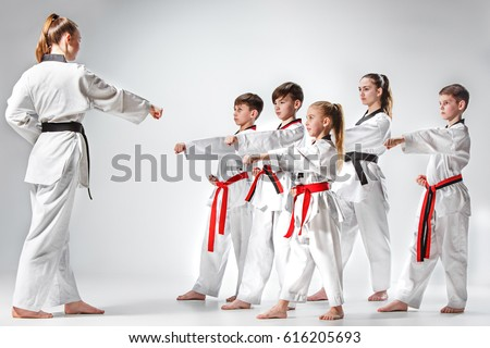 The studio shot of group of kids training karate martial arts #616205693