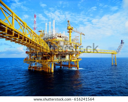 Offshore construction platform for production oil and gas, Oil and gas industry and hard work, Production platform and operation process by manual and auto function #616241564