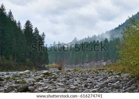 Mountain view in rainy cloudy day, the mist spreads over the mountains, Washington state, USA Pacific Northwest. #616274741