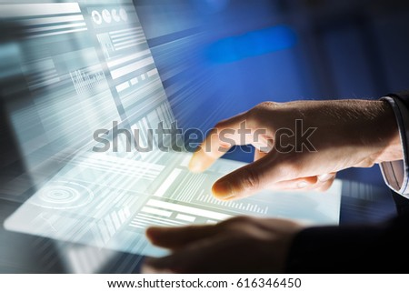 Businessman hand touching with finger virtual panel with infographs #616346450