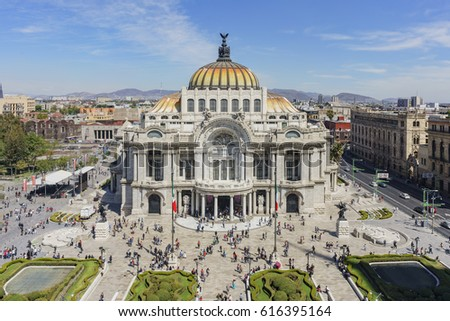Mexico City, FEB 17: Aerial morning view of the Palace of Fine Arts, Cathedral of Art on FEB 17, 2017 at Mexico City #616395164