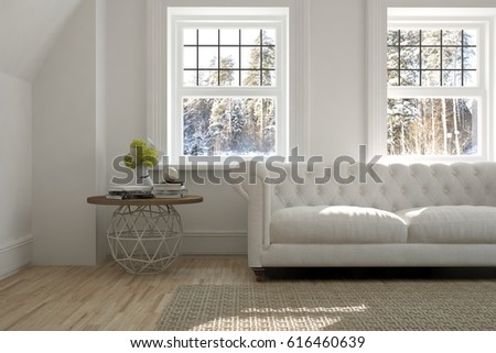 White room with sofa and winter landscape in window. Scandinavian interior design. 3D illustration #616460639