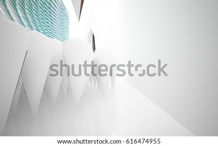abstract architectural interior with white sculpture and geometric glass lines. 3D illustration and rendering #616474955