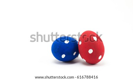 Close up shot of group of colorful Easter eggs on white background #616788416