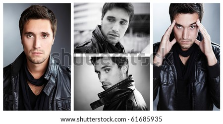 Closeup portrait of sensual man with beautiful face and eyes. �¡ollage from 4 photos. #61685935