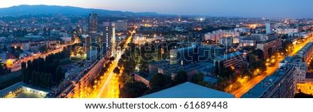 Zagreb capitol of Croatia. Panorama by night. #61689448