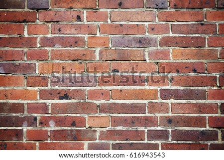 Picture of an old weathered clinker brick wall, background or texture. #616943543