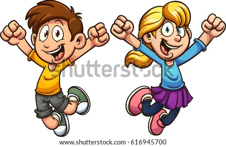 Cartoon kids jumping. Vector clip art illustration with simple gradients. Each on a separate layer. Royalty-Free Stock Photo #616945700