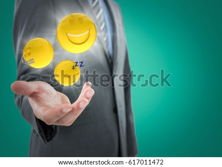 Digital composite of Business man mid section with hand out and emojis with flares against teal background #617011472