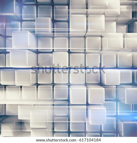 Abstract background of cubes in gray toned. #617104184
