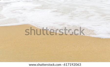 Sand beach and white sea water #617192063