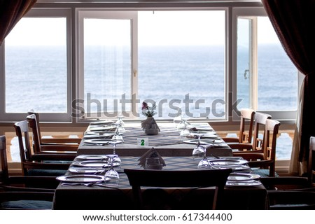 A restaurant with a beautiful view of Mediterranean sea in Alexandria, Egypt #617344400