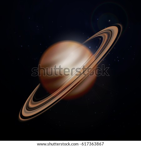 Realistic planet Saturn. Eps10, contains transparencies Vector