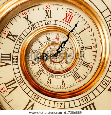 Antique old clock abstract fractal spiral. Watch clocks unusual abstract texture fractal pattern background Old fashion clock roman and arabic numerals clock hands. Spiral effect fractal spiral effect #617386889