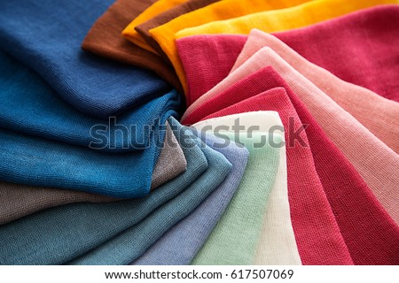 A Group of Twisted Colored Gauze Fabric, Textile Palette, Holiday, Interior, Top View, Horizontal Royalty-Free Stock Photo #617507069