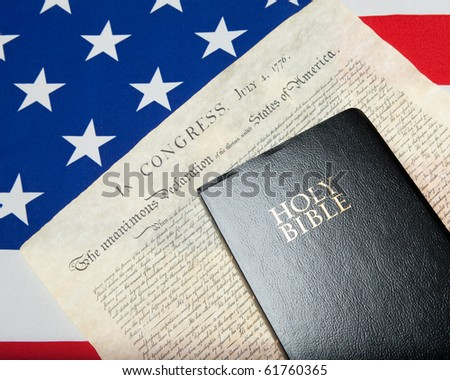 black bible with declaration of independence and ensign of the USA #61760365