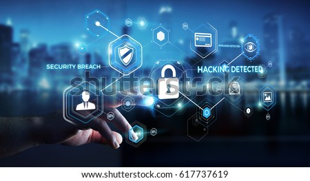 Businessman on blurred background using antivirus to block a cyber attack 3D rendering Royalty-Free Stock Photo #617737619