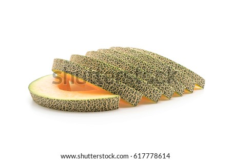 cantaloupe melon on white background #617778614