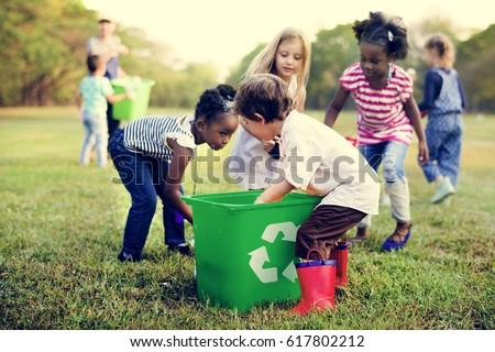 Group of kids school volunteer charity environment Royalty-Free Stock Photo #617802212