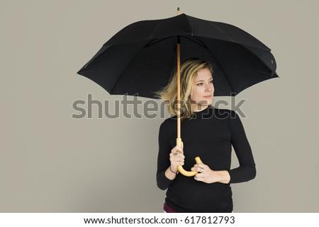 Caucasian Lady Black Umbrella Concept #617812793