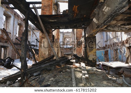 The old shattered beams and walls in the residential house of German built 1945 #617815202