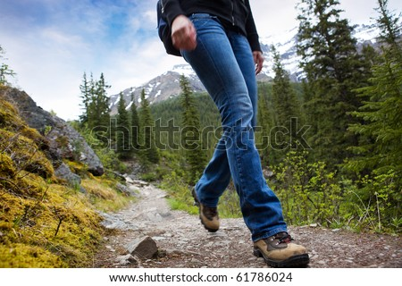 A person hiking in Banff National Park, Alberta, Canada #61786024