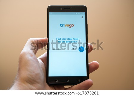 Nitra, Slovakia, March 20, 2017: Trivago application logo on smartphone #617873201