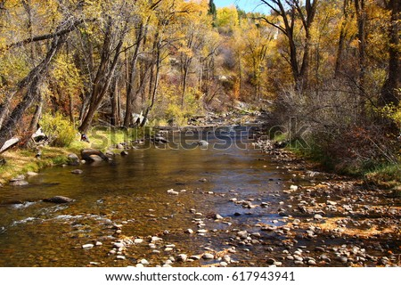 Autumn Landscape; Roaring Fork River Aspen, CO  #617943941