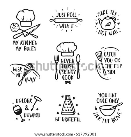 Hand drawn kitchen posters set. Quotes and funny sayings about cooking food. Wall decor art prints collection. Kitchenware monochrome set. Vector vintage illustration. Royalty-Free Stock Photo #617992001