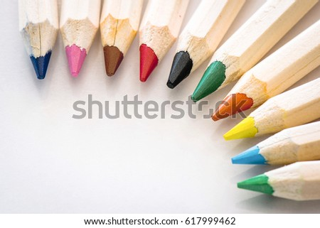 Color Pencils With Available Copy Space #617999462